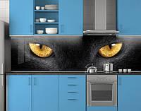 Пластиковый кухонный фартук ПВХ Кошачьи глаза, стеновые панели пластик скинали фотопечать животные коты черный, 620*2050 мм, фото 1