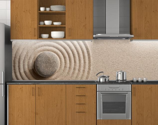Пластиковый кухонный фартук ПВХ Песок и камень, Самоклеящаяся стеновая панель для кухни, Текстуры, бежевый, 620*2050 мм
