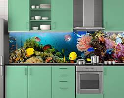 Пластиковый кухонный фартук ПВХ Аквариум 03, стеновые панели пластик скинали фотопечать, рыбы, кораллы, синий