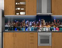 Пластиковый кухонный фартук ПВХ Ночные огни отражение, стеновые панели пластик скинали фотопечать, Город синий, фото 1