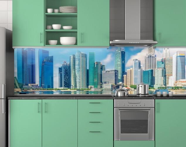 Пластиковый кухонный фартук ПВХ Небоскребы, Стеновая панель с фотопечатью, скинали, Город, бирюзовый