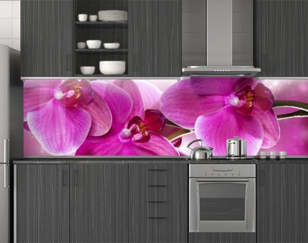 Пластиковый кухонный фартук ПВХ Розовые орхидеи 07, стеновые панели пластик скинали фотопечать Цветы, розовый
