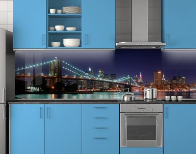 Пластиковый кухонный фартук ПВХ Огни моста ночью, стеновые панели пластик скинали фотопечать, Мосты, синий