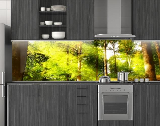 Пластиковый кухонный фартук ПВХ Старый лес и лучи света, стеновые панели пластик скинали, Природа, зеленый, 620*2050 мм