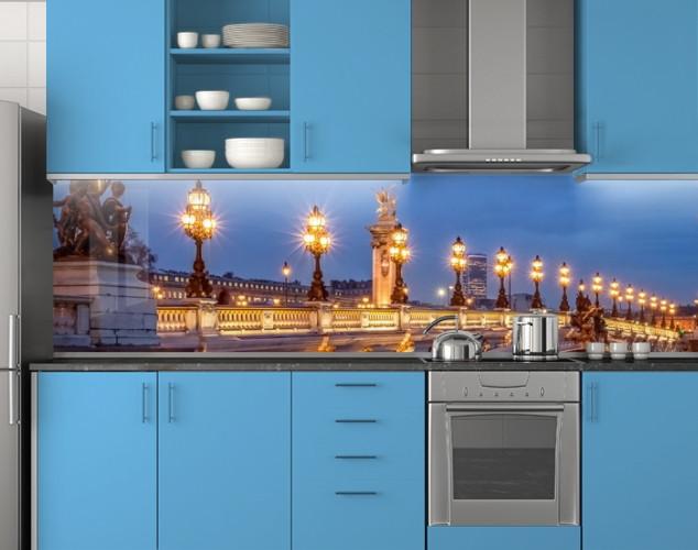 Пластиковый кухонный фартук ПВХ Мост с фонарями, стеновые панели пластик скинали фотопечать, Мосты, синий