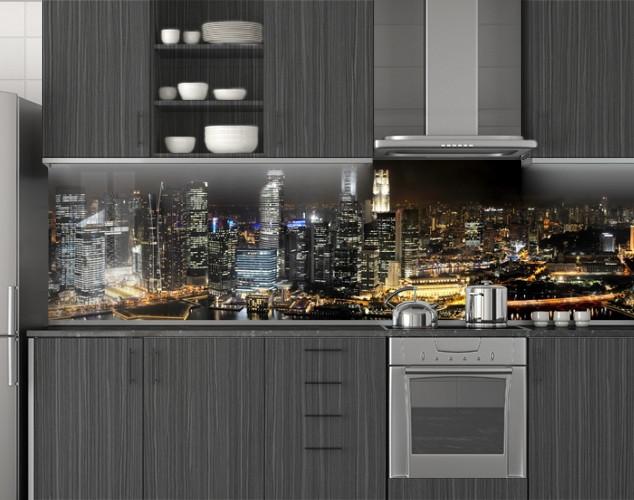 Пластиковый кухонный фартук ПВХ Свет ночного города, стеновые панели пластик скинали фотопечать, Город, черный, 620*2050 мм