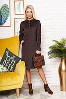 """Женское элегантное замшевое платье-рубашка""""А-130""""  с застежкой-планкой на кнопках (коричневый)"""