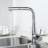 Однозахватный кухонный смеситель Blue Water Польша Art Platino Miros Chrom с выдвижным душем, фото 3