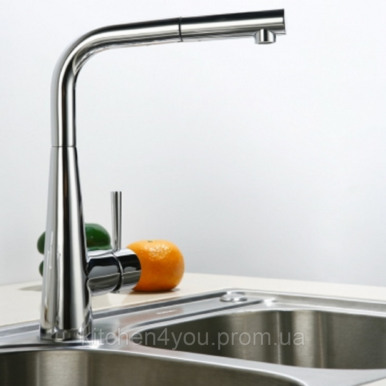 Однозахватный кухонный смеситель Blue Water Польша Art Platino Miros Chrom с выдвижным душем