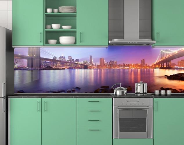 Пластиковый кухонный фартук ПВХ Радужный мост, стеновые панели пластик скинали фотопечать, Мосты, фиолетовый