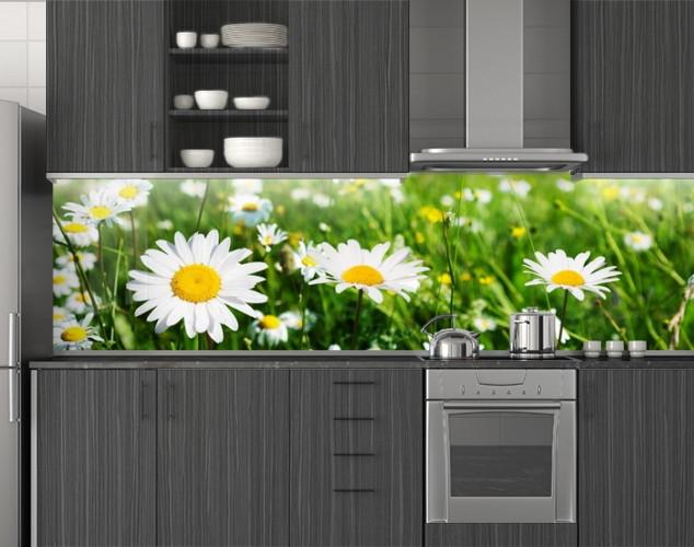 Пластиковый кухонный фартук ПВХ Ромашки в траве, стеновые панели пластик скинали фотопечать, Цветы, зеленый