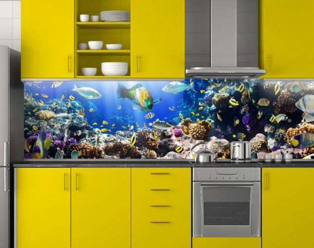 Пластиковый кухонный фартук ПВХ Аквариум 04, стеновые панели пластик скинали фотопечать, рыбы, кораллы, синий, 620*2050 мм