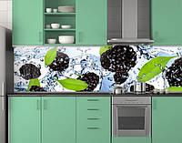 Пластиковый кухонный фартук ПВХ Ежевика в воде, стеновые панели пластик скинали фотопечать, ягоды, голубой, 620*2050 мм, фото 1