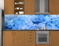 Пластиковый кухонный фартук ПВХ Голубая гортензия, Стеновая панель для кухни с фотопечатью, Цветы