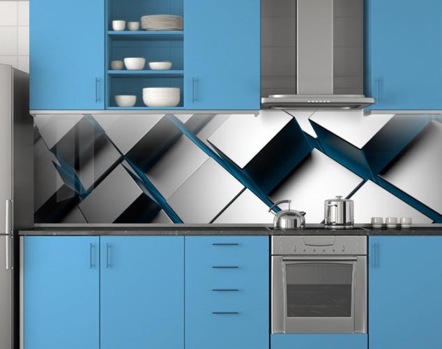 Пластиковый кухонный фартук ПВХ Стальные кубы, квадраты, скинали, Абстракция, серый, стеновая панель для кухни