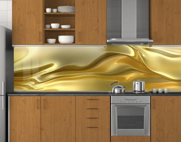 Пластиковый кухонный фартук ПВХ Золотой шелк, стеновые панели пластик скинали фотопечать, Текстуры, золото