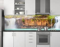 Пластиковый кухонный фартук ПВХ Скала и водопад, стеновые панели пластик скинали фотопечать, Природа, бежевый
