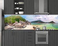 Пластиковый кухонный фартук ПВХ Валуны на пляже Симиланы, стеновые панели пластик скинали, Море, бежевый, фото 1