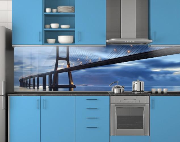 Пластиковый кухонный фартук ПВХ Лаконичный мост, стеновые панели пластик скинали фотопечать, Мосты