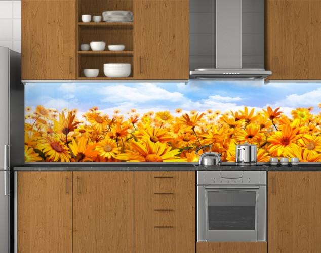 Пластиковый кухонный фартук ПВХ Поле календулы, стеновые панели пластик скинали фотопечать, оранжевые цветы