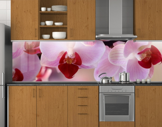 Пластиковый кухонный фартук ПВХ Красные орхидеи, Фотопечать скинали на кухню, Цветы, розовый