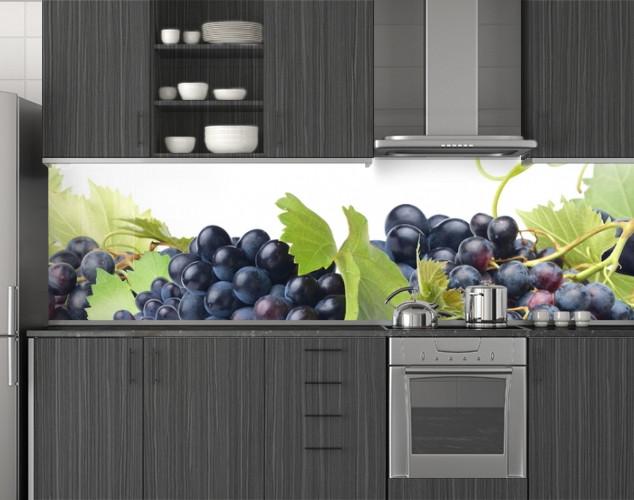 Пластиковый кухонный фартук ПВХ Синий виноград и лоза, Стеновая панель с фотопечатью, скинали, зеленый