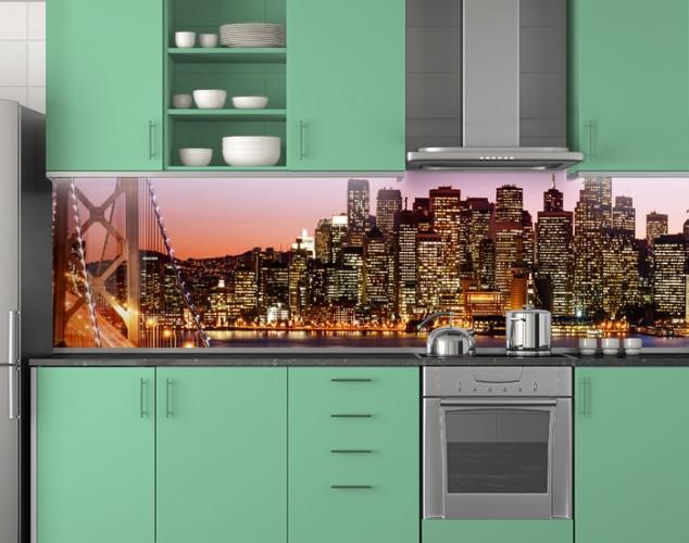 Пластиковый кухонный фартук ПВХ Светящиеся небоскребы, стеновые панели пластик скинали фотопечать, Мосты