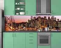 Пластиковый кухонный фартук ПВХ Светящиеся небоскребы, стеновые панели пластик скинали фотопечать, Мосты, фото 1