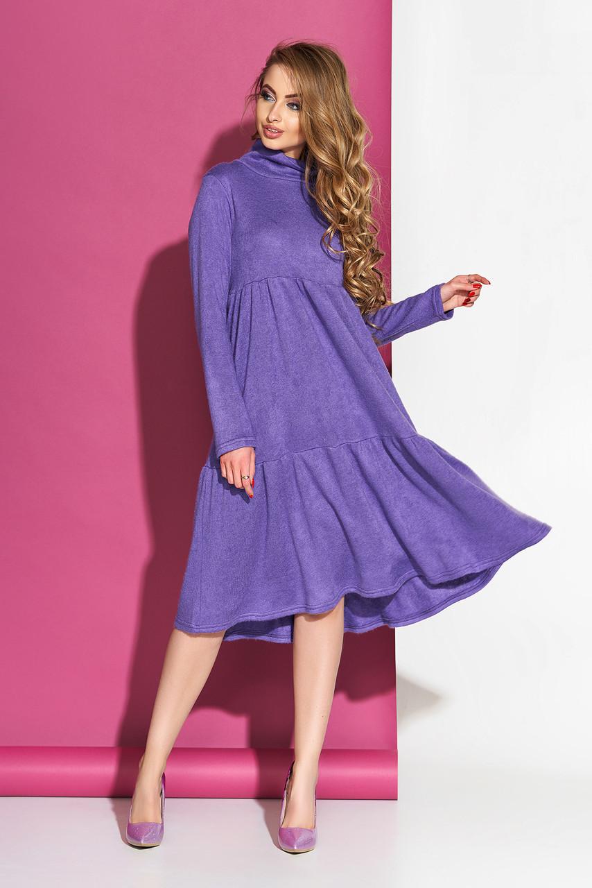 """Многоярусное женское платье """"L-514"""" миди с ангоры длинный рукав (сиреневый)"""