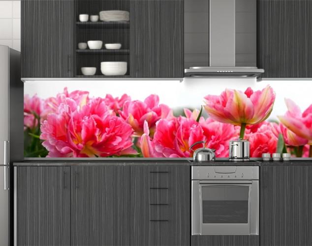 Пластиковый кухонный фартук ПВХ Пышные тюльпаны, Стеновая панель с фотопечатью, Цветы, розовый