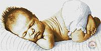Набор для вышивания крестиком младенец. Размер: 35*17,8 см