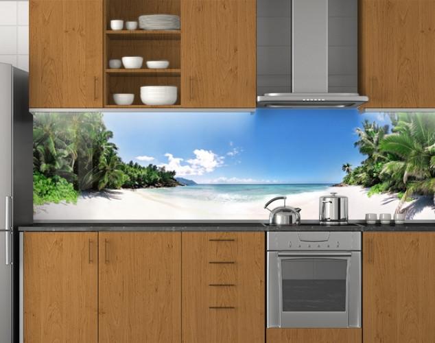 Пластиковый кухонный фартук ПВХ Белый песок и пальмы, Стеновая панель для кухни с фотопечатью, Море, голубой