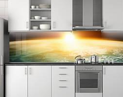Пластиковый кухонный фартук ПВХ Солнце над планетой, Фотопечать скинали на кухню, Космос, оранжевый, 620*2050 мм