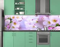 Пластиковый кухонный фартук ПВХ Цветы яблони, стеновые панели пластик скинали фотопечать, цветение, розовый
