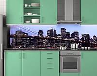 Пластиковый кухонный фартук ПВХ Рассвет над темным городом, Стеновая панель для кухни с фотопечатью, Мосты
