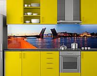 Пластиковый кухонный фартук ПВХ Разводной мост, стеновые панели пластик скинали фотопечать, Мосты, синий, фото 1