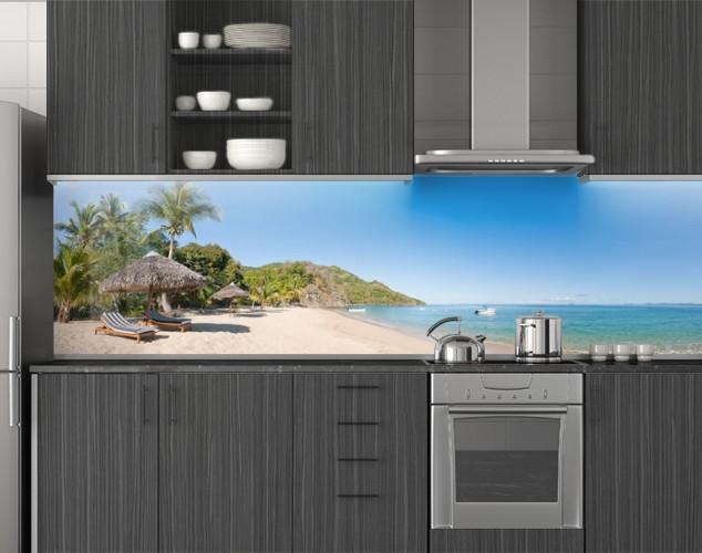 Пластиковый кухонный фартук ПВХ Остров с пальмами и голубой водой, стеновые панели пластик скинали фотопечать