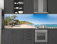 Пластиковый кухонный фартук ПВХ Остров с пальмами и голубой водой, стеновые панели пластик скинали фотопечать, фото 1