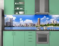 Пластиковый кухонный фартук ПВХ Современный город, Стеновая панель для кухни с фотопечатью, голубой