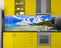 Пластиковый кухонный фартук ПВХ Голубая вода и неб, стеновые панели пластик скинали фотопечать, Море, голубой, фото 1
