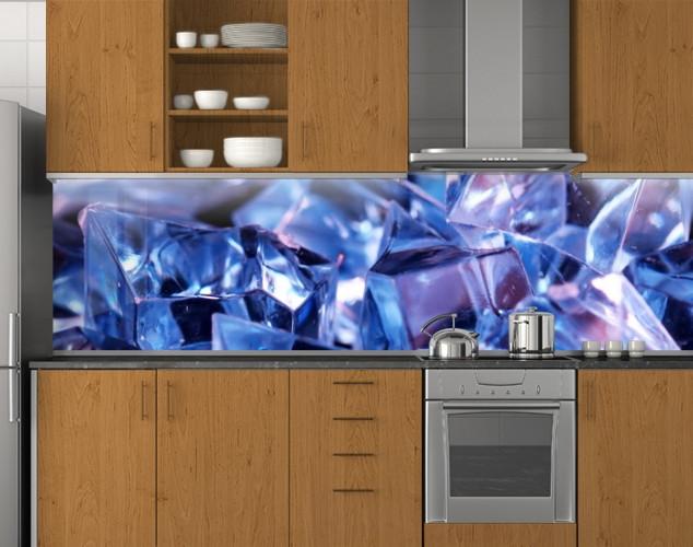 Пластиковый кухонный фартук ПВХ Алмазы, Наклейка на кухонный фартук, Текстуры, скинали фиолетовый