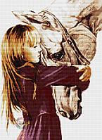 Набор для вышивания крестиком девочка и лошадь. Размер: 25*35 см