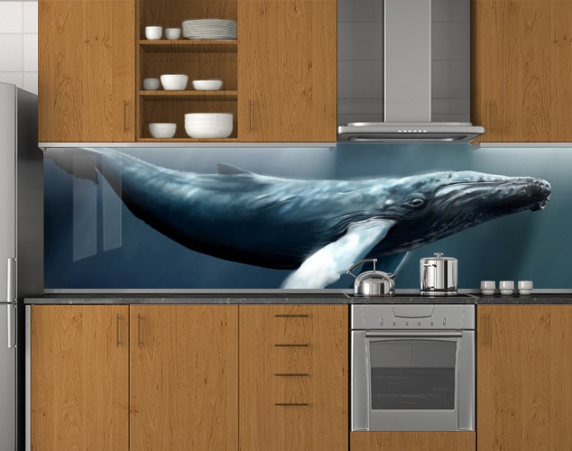 Пластиковый кухонный фартук ПВХ Синий кит, стеновые панели пластик скинали фотопечать, Животные, рыбы