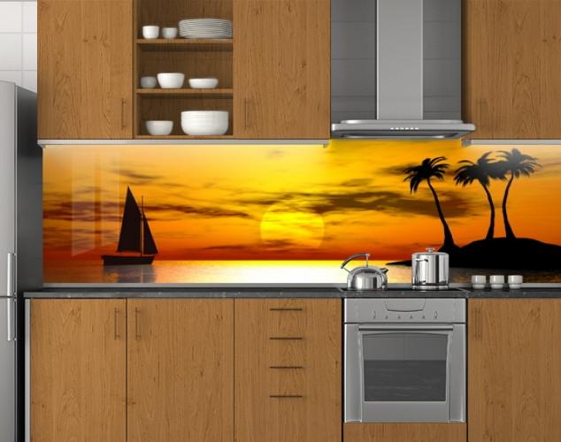 Пластиковый кухонный фартук ПВХ Парусник и Пальмы, стеновые панели пластик скинали фотопечать, Море, оранжевый
