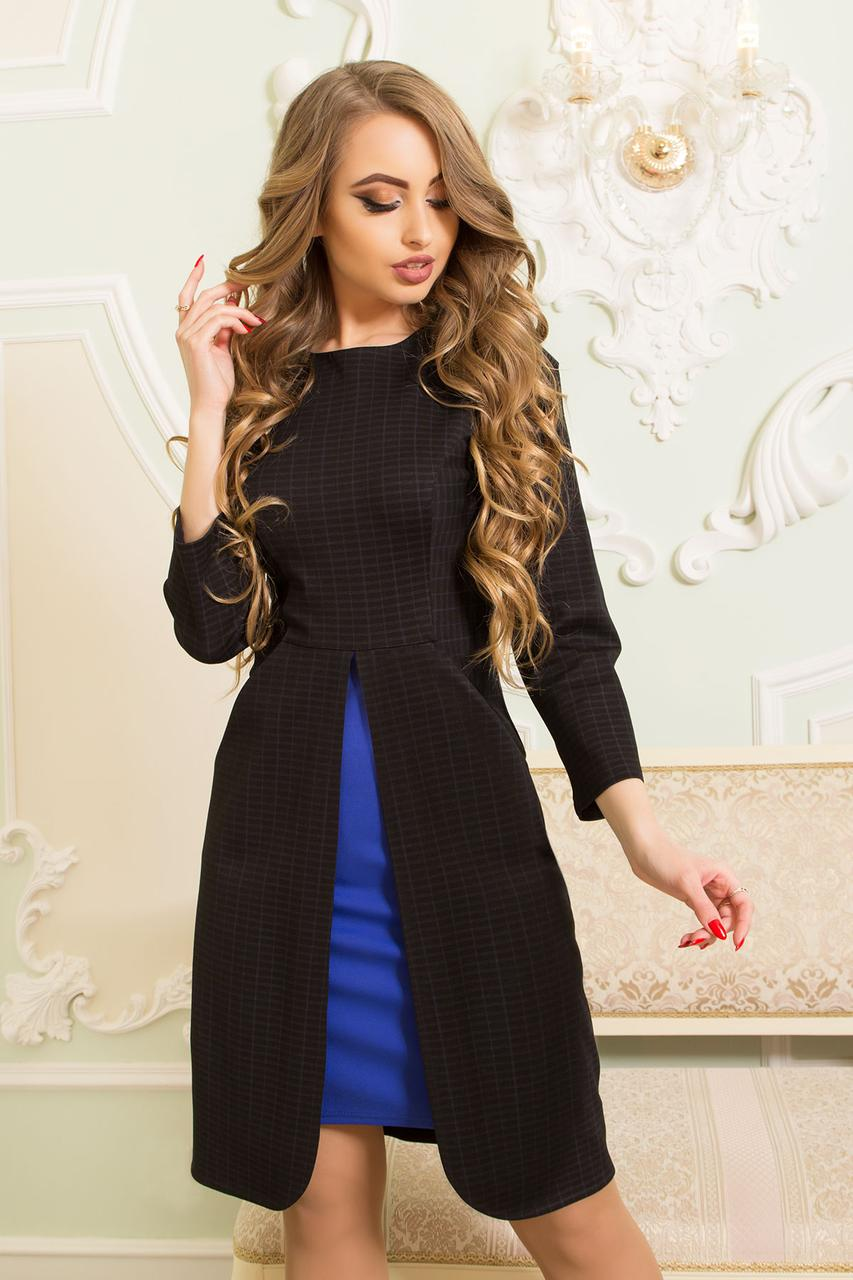 Трикотажное женское платье отрезное по линии талии с разрезом по переду и вставкой контрасного цвета (черный)
