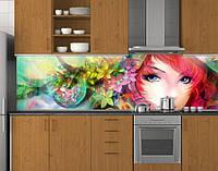 Пластиковый кухонный фартук ПВХ Девочка Аниме, Стеновая панель для кухни с фотопечатью, Рисунки, зеленый