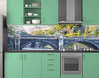 Пластиковый кухонный фартук ПВХ Каменный мост с арками, стеновые панели пластик скинали фотопечать, Мосты