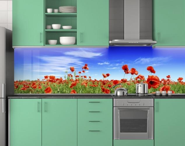 Пластиковый кухонный фартук ПВХ Маки и голубое небо, стеновые панели пластик скинали фотопечать, Цветы