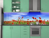 Пластиковый кухонный фартук ПВХ Маки и голубое небо, стеновые панели пластик скинали фотопечать, Цветы, фото 1