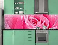 Пластиковый кухонный фартук ПВХ Роза розовый бутон, стеновые панели пластик скинали для кухни фотопечать Цветы